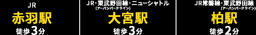 JR赤羽駅 徒歩3分/JR・東武野田線・ニューシャトル 大宮駅 徒歩3分